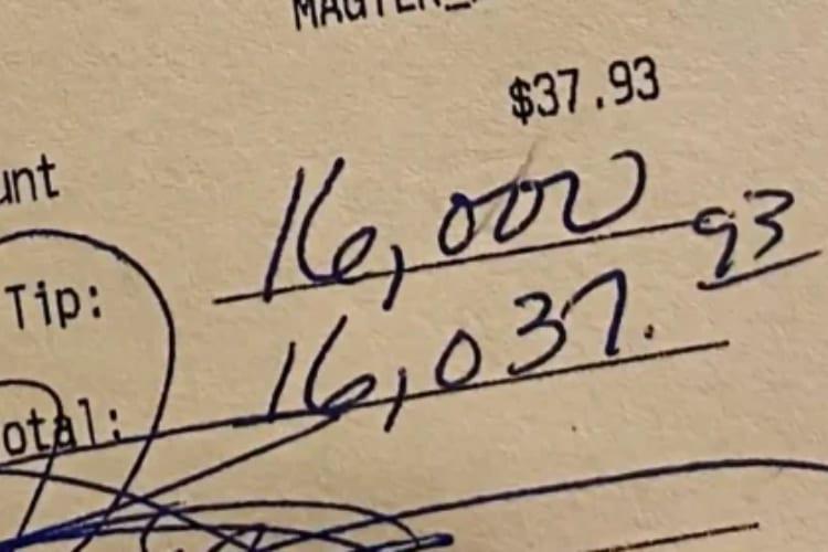 $16,000 Tip on $37 Tab