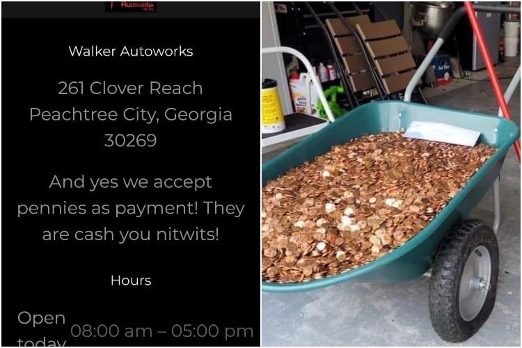 A OK Walker Luxury Autoworks Employee Paid In Oiled Pennies